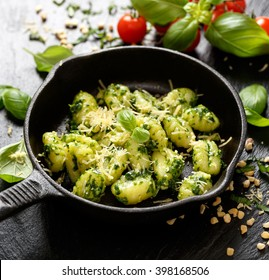 Gnocchi with herb pesto, delicious Italian vegetarian dish