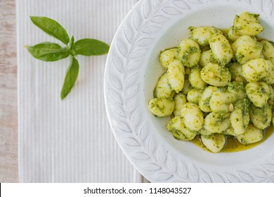 Gnocchi with pesto and basil from above.