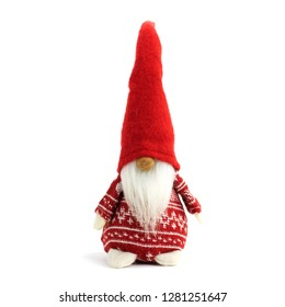 Gnome a christmas elf in red swater standing on white background