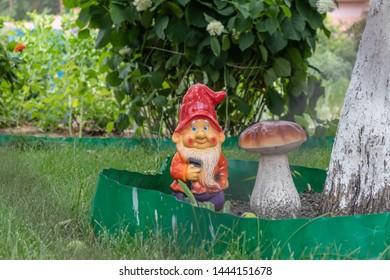 Gnome in the garden. Funny gnome backyard. Statue of gnome. Garden decoration.
