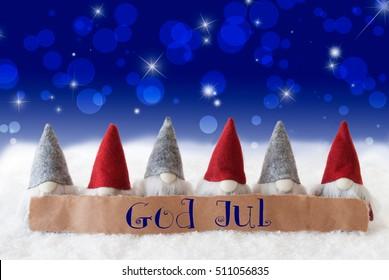 Gnomes, Blue Bokeh, Stars, God Jul Means Merry Christmas