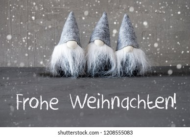 Gnomes, Cement, Frohe Weihnachten Means Merry Christmas
