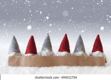 Gnomes, Silver Background, Snowflakes, Copy Space