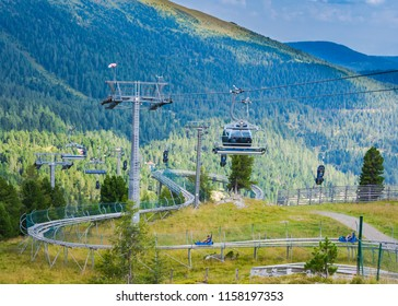 "Go up with the cable car at the Turracher Höhe and take the roller coaster ""Nocky Flitzer"" back down again. ""Turracher Höhe, Austria, August 9, 2018"
