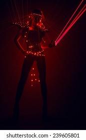 Go go dancer in laser light