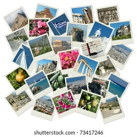 Go Greece - background with travel photos of famous landmarks, all photos are my own