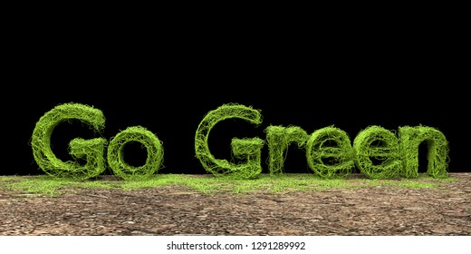 Go Green concept isolated on black background