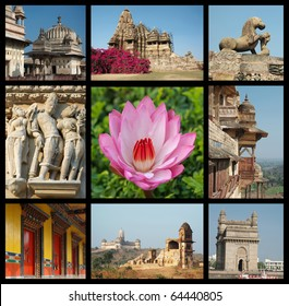 Go India collage - background with travel photos of Indian landmarks,all photos are my own