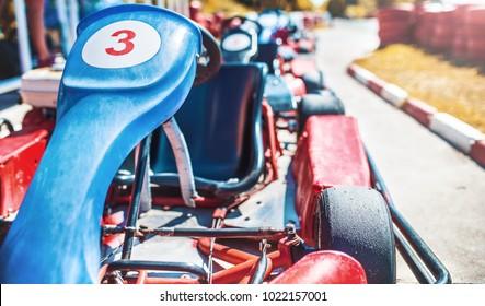 Go kart car parked next to track side