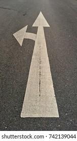 Go Straight or Turn Left Traffic Sign on Asphalt Road.