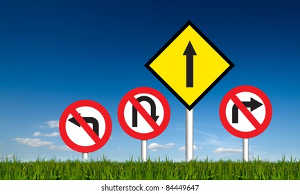 """""""go strait"""" no left turn, no right turn, no u-turn traffic signs. Business symbol for success"""