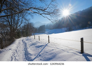 go for a walk in idyllic winter landscape schliersee area, upper bavaria