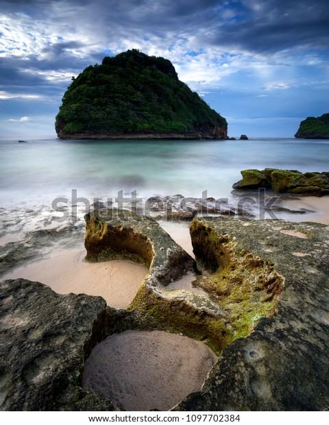 Goa Cina Beach Malang Indonesia Nature Stock Image 1097702384