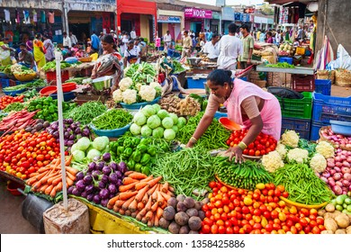 GOA, INDIA - APRIL 06, 2012: Fruts and vegetables at the local market in India