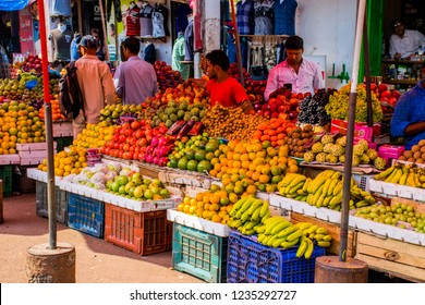 Goa / India - Dec 2017: The traditional colorful Indian market in Mapusa in Northern Goa.