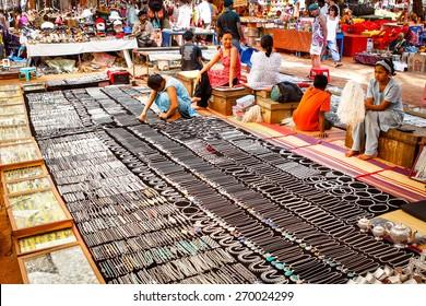 Goa, India  - December 17, 2008: showcases with jewelry on the street flea market