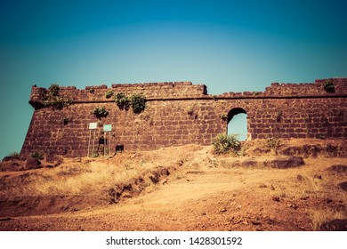 Goa, India - December 20, 2018: brick wall of old fort chapora goa