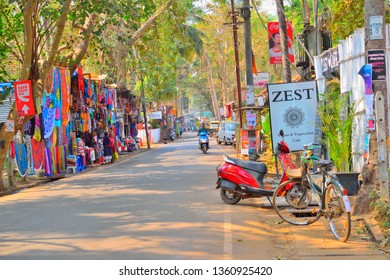 Goa, India - February 02, 2019: Colorful streets in Palolem beachside with different shops by the roadside.