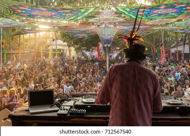 Goa, India - February 7, 2016: Simon Posford playing on the stage of HillTribe club in Goa, India.