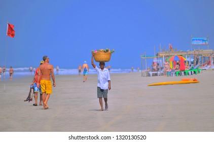 Goa, India - January 26, 2019: A vendor selling pineapples at Mandrem beach.