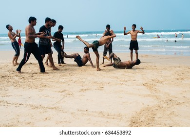 Goa, India - November  12, 2016: Indians and tourists together heving fun in the ocean.