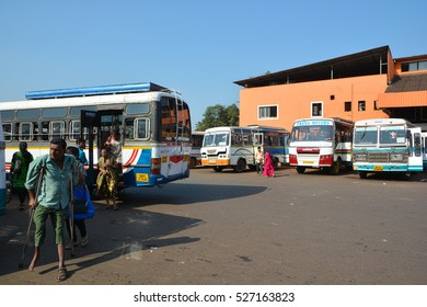GOA,INDIA - NOVEMBER 10,2016: Bus station in Mapusa