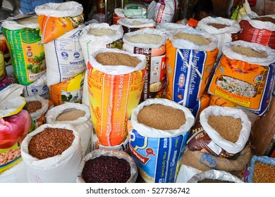 GOA,INDIA - NOVEMBER 10,2016: Rice in bags at the market in Mapusa