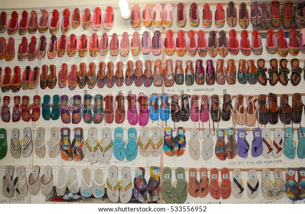 GOA,INDIA - NOVEMBER 12,2016: Indian shoes in a store.