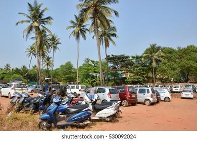 GOA,INDIA - NOVEMBER 12,2016: Parking of vehicles on the Arambol beach