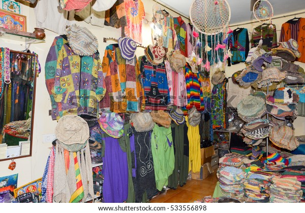 GOA,INDIA - NOVEMBER 12,2016: Store Tibetan clothing and accessories from hemp in Arambol.