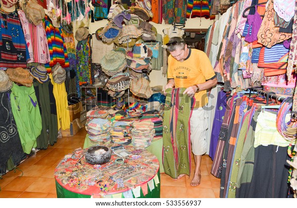 GOA,INDIA - NOVEMBER 12,2016: Store Tibetan clothing and accessories from hemp in Arambol.