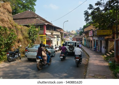 GOA,INDIA - NOVEMBER 15,2016 : Transportation and architecture of the old buildings on the streets of Panjim.