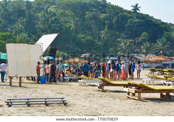 GOA,INDIA - NOVEMBER 15,2017: Shooting film production company of bollywood on the Vagator beach