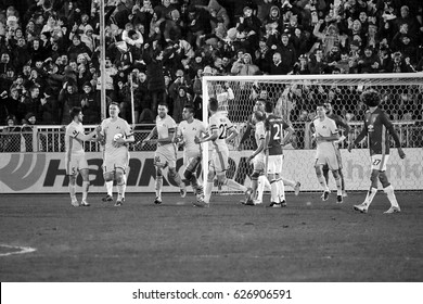 """Goal against Manchester United. Game moments in match 1/8 finals of the Europa League between FC """"Rostov"""" and """"Manchester United"""", 09 March 2017 in Rostov-on-Don, Russia."""