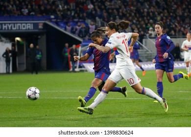 Goal Dzsenifer Marozsan of Lyon during UEFA Women's Champions League quarter final Olympique Lyonnais vs FC Barcelona 3,22,2018 Groupama stadium Decines Charpieu Lyon France