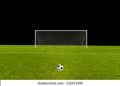 Goal and the field isolated on black with the ball on penalty point