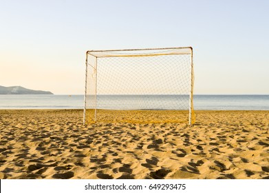 Goal of football on the sand of Amoudara beach in Crete