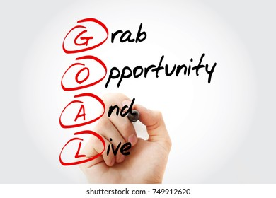 GOAL - Grab Opportunity And Live, acronym business concept