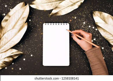 Goal lift for New Year. Holiday decorations and notebook with clean note book on dark table, flat lay style. Planning concept.