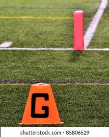 Goal Line on American Football Field with Pylon