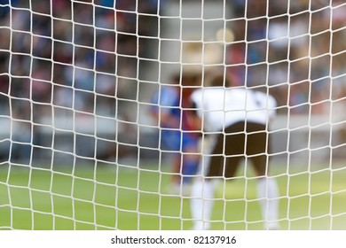 Goal net for Football or soccer with stadium background