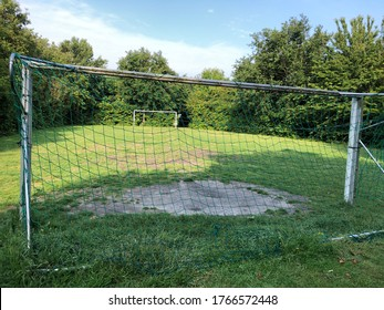 goal on a meadow soccer field
