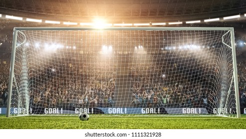 A goal on the professional soccer stadium. Stadium and crowd are made in 3D.