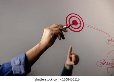 Goal, Plan, Challenge and Successful Concept. Business Teamwork drawing a Plan on board in Office. Looking and Pointing at the Finish Spot - Shutterstock ID 1868465116