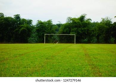 Goal post in rural area field