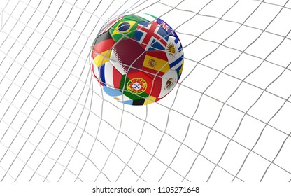 goal Qatar soccer football ball 3d rendering