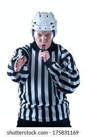 Goal scored. Hockey referee signal. On the white background