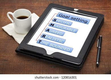 goal setting concept  - SMART (specific, measurable, agreed, realistic, time bounded) - a diagram on a tablet computer with stylus pen and espresso coffee cup against grunge scratched wooden table