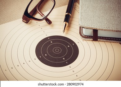 Goal setting with target, objectives and planning concept, top view