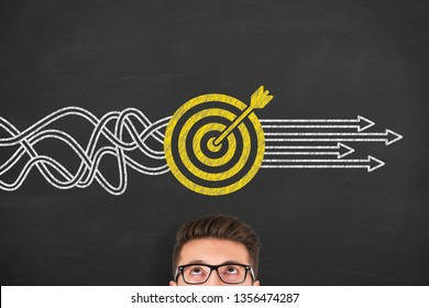 Goal Solution Concepts on Chalkboard Background